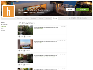 Studio H's Houzz comments page