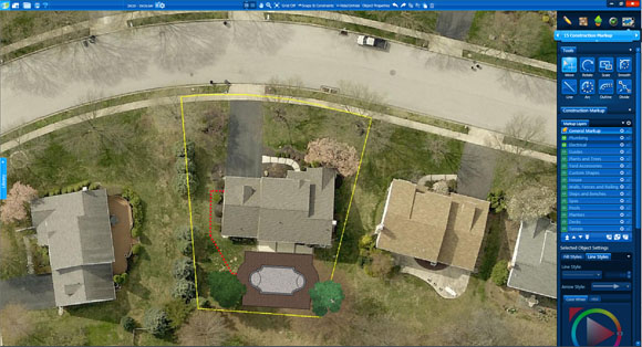 Aerial Images Construction markup in Pool Studio and VizTerra
