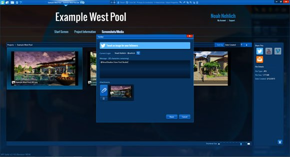 Twitter, Youtube, Vimeo and Email Sharing in Pool Studio and VizTerra