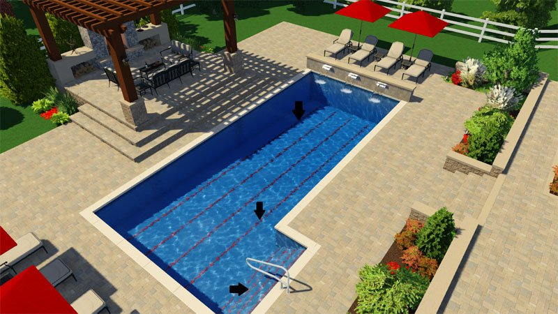 Swimming Lanes in 3D Swimming Pool Design Software