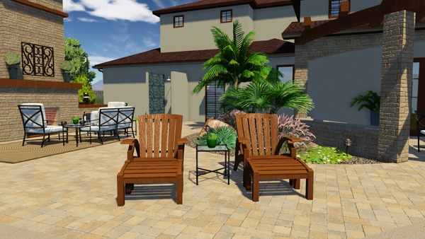 Sketchup Chairs in Vip3D Pool and Landscape Design Software