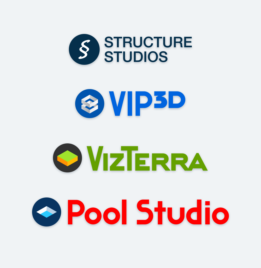 Structure Studios, Vip3D, VizTerra and Pool Studio Logos