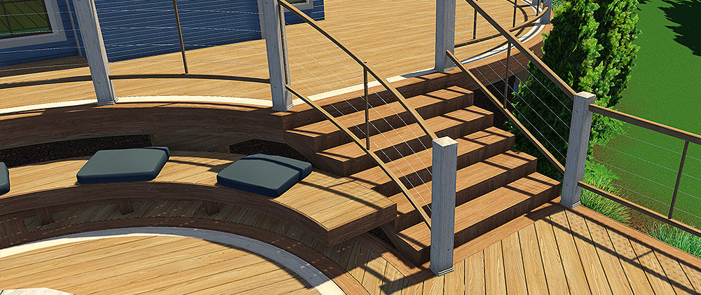 Wood Deck Stairs and Railings