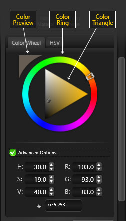 Color Options in the Materials Panel