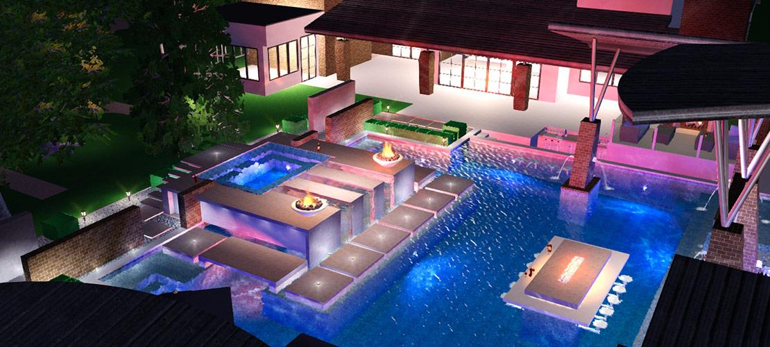 3D Pool and Backyard Design