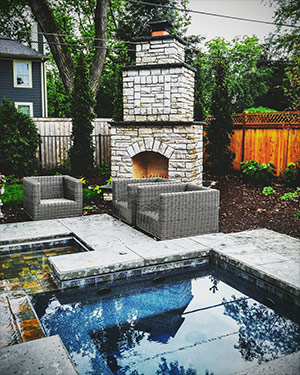 Fireplace by the Pool