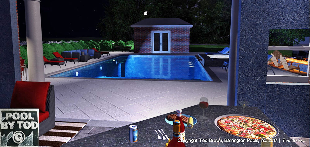 Pizza and Beer by the Pool