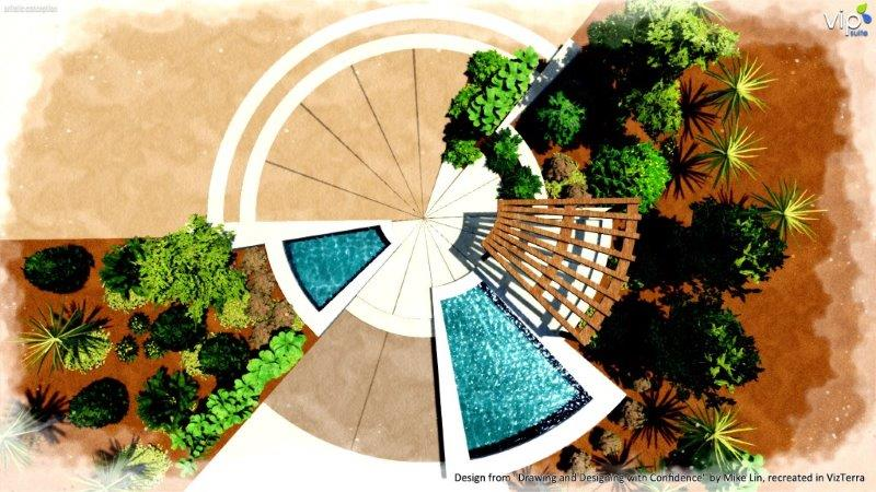 Radial form composition in landscape design software