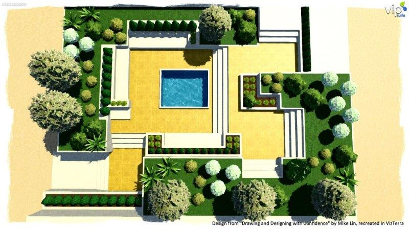 Rectilinear form composition in landscape design software