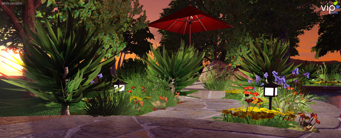 VizTerra Landscape Design Software Path at Sunset