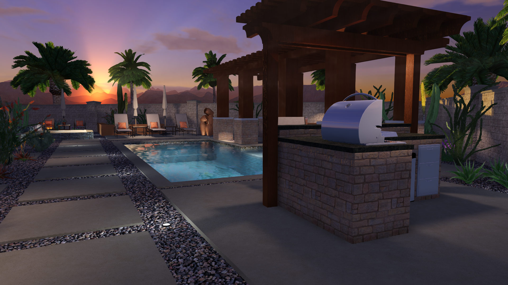 Pool Deck Size - Outdoor Eating Area
